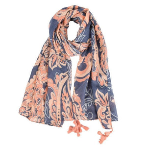 Scarf - denim peach paisley
