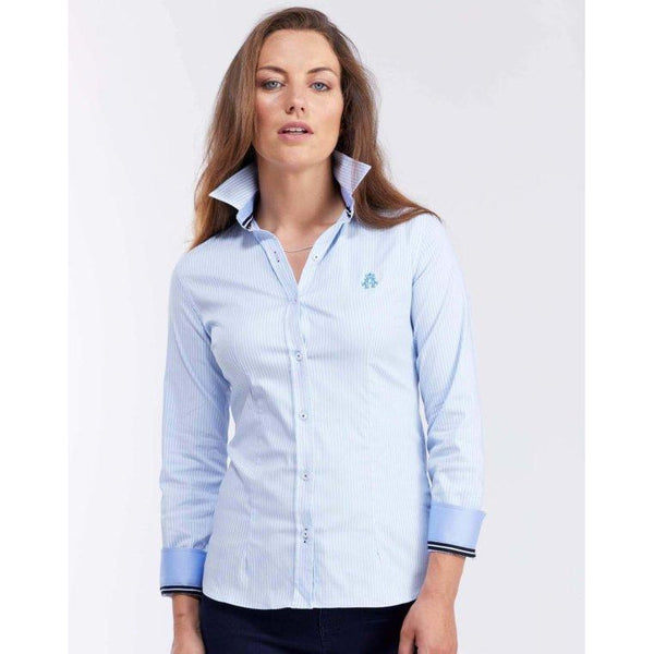 Classic Oxford Stretch Navy & White Stripe Shirt - croftonandhall
