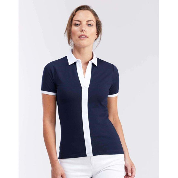 Navy Centre Stripe Polo Shirt - croftonandhall