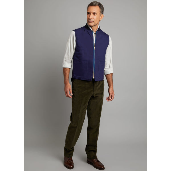 Gilet in Navy Cotton - croftonandhall