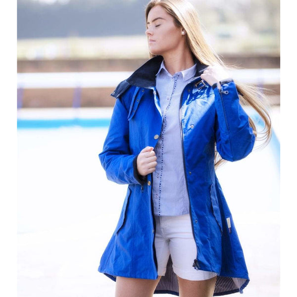 Louise Royal Blue Water Repellent Windproof Washable Cotton Coat - croftonandhall
