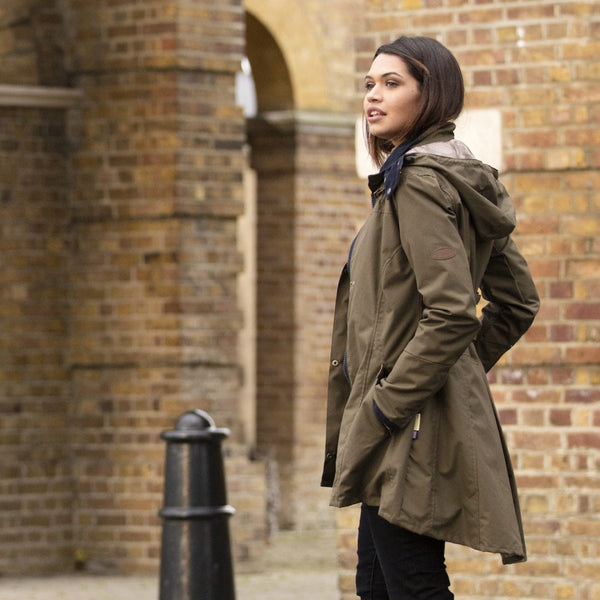 Louise Khaki Water Repellent Windproof Washable Cotton Coat - croftonandhall