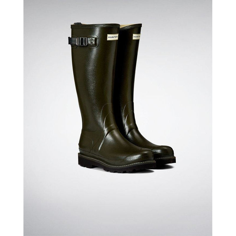 Women's Balmoral Poly-lined Wellington Boots in Dark Olive - croftonandhall