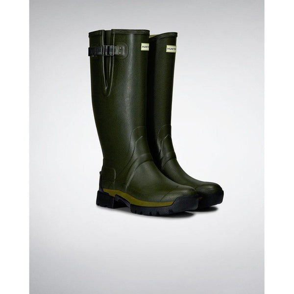 Men's Balmoral Adjustable 3mm Neoprene Wellington Boots in Dark Olive - croftonandhall
