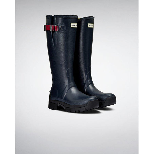 Women's Balmoral Side Adjustable 3mm Neoprene Wellington Boot in Navy/Peppercorn - croftonandhall