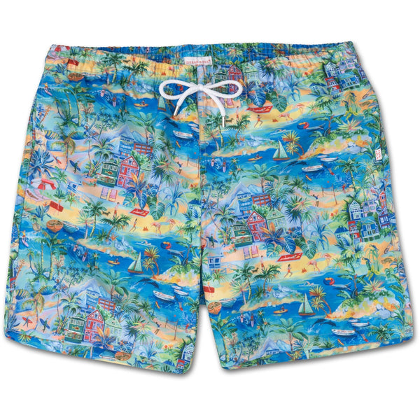 Classic Fit Swim Shorts in Malibu Print - croftonandhall
