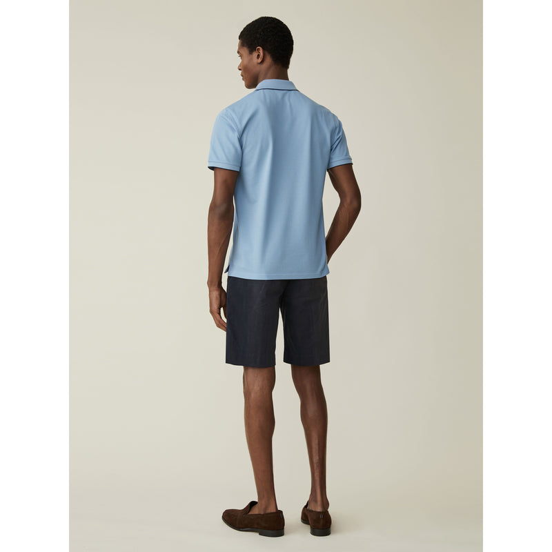 Fine Cotton Pique Polo Shirt in Sky Blue - croftonandhall