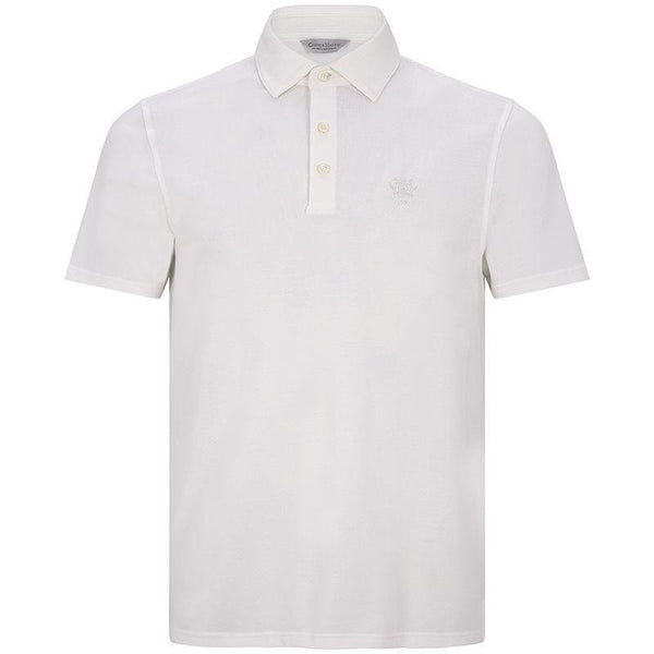 Washed Cotton Pique Polo Shirt in White - croftonandhall