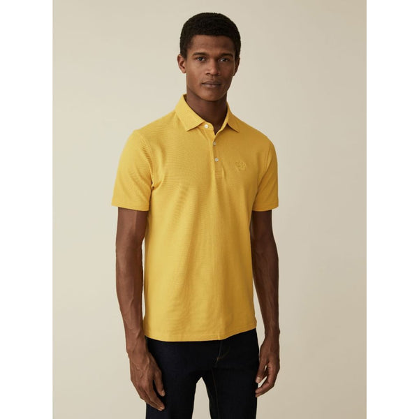 Washed Cotton Pique Polo Shirt in Yellow - croftonandhall