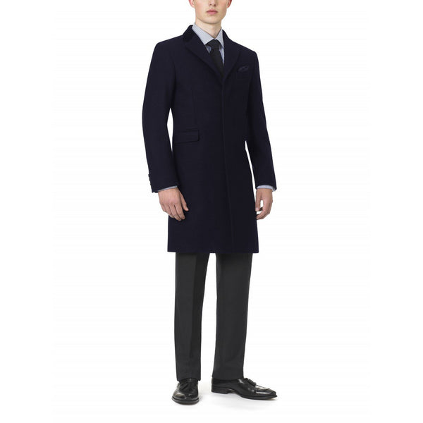 Pure Melton Wool Navy Retro Coat - croftonandhall