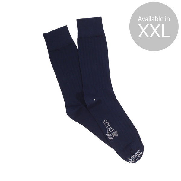 Ribbed Cotton Socks in Navy - croftonandhall
