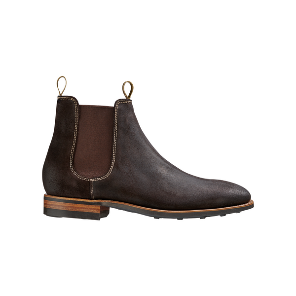 Mansfield Chocolate Burnish Suede Chelsea Boot - croftonandhall
