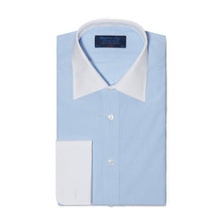 Contemporary Fit, White Classic Collar, White Double Cuff in Light Blue & White Bengal Stripe Shirt - croftonandhall