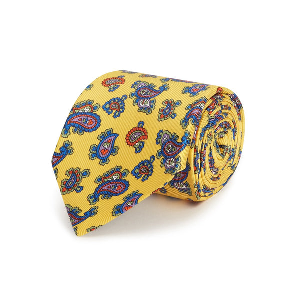Yellow Small Paisley Silk Tie - croftonandhall