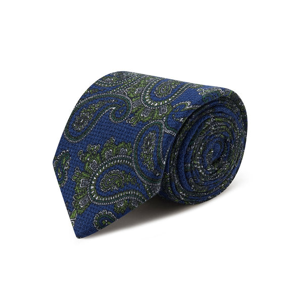 Blue with Green Paisley 100% Cashmere Tie - Crofton & Hall