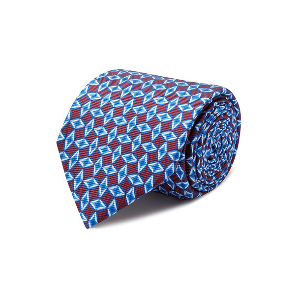 Wine with Blue Diamonds Silk Tie - croftonandhall