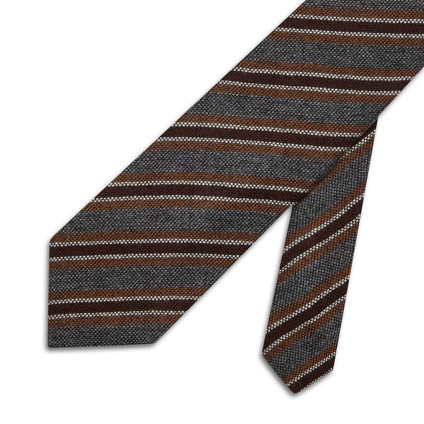 Striped Grey Cashmere, Wool & Silk Tie - croftonandhall