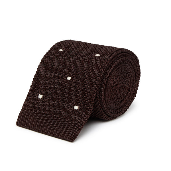 Dark Brown Knitted Tie with White Spots - croftonandhall