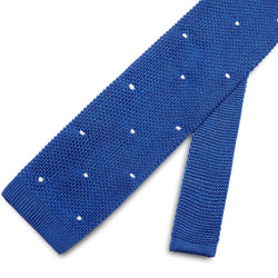 Royal Blue Knitted Tie with White Spots - croftonandhall
