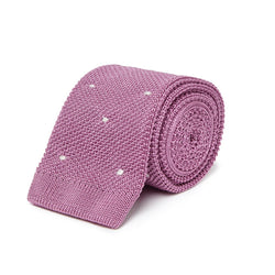 Pink Knitted Tie with White Spots - croftonandhall