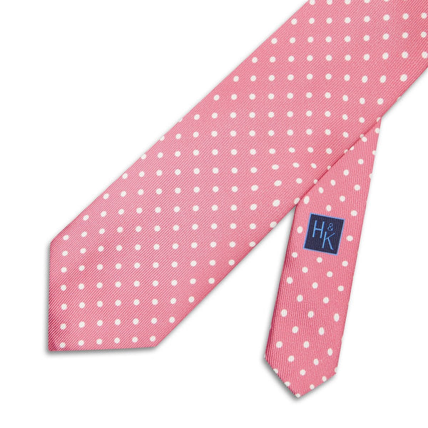 Pink Printed Silk Tie with White Spots - croftonandhall