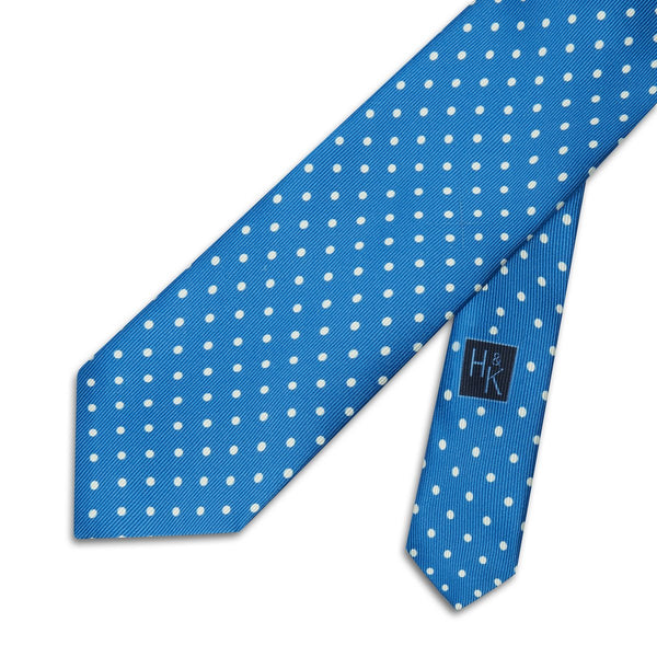 Mid Blue Printed Silk Tie with White Spots - croftonandhall