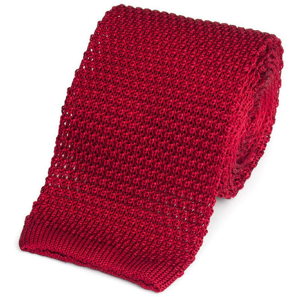 Red Knitted Silk Tie - croftonandhall