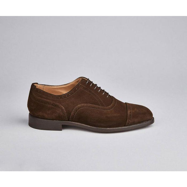 Kensington Semi Brogue Toecap Oxford in Chocolate Suede - croftonandhall
