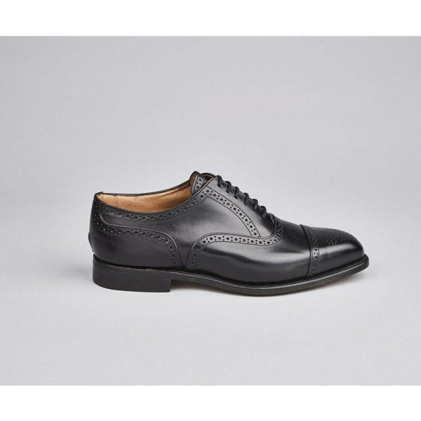 Kensington Semi Brogue Toecap Oxford in Black - croftonandhall