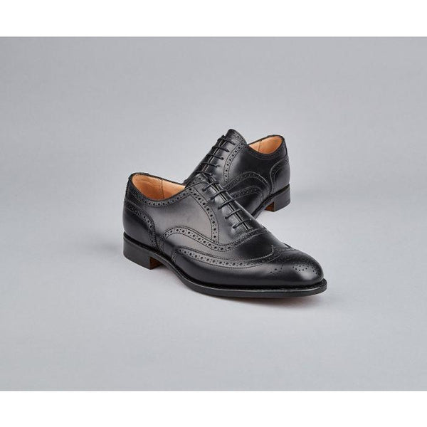 Norfolk Brogue Oxford Shoe in Black - croftonandhall