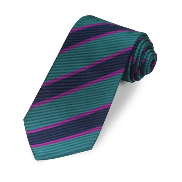 Kensington Stripe 350 End (Green, Purple, Navy) Silk Tie - Crofton & Hall