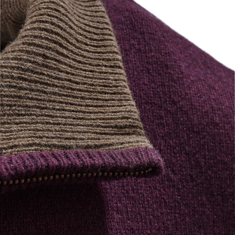 Lambswool 1/4 Zip Neck Knit in Damson - croftonandhall