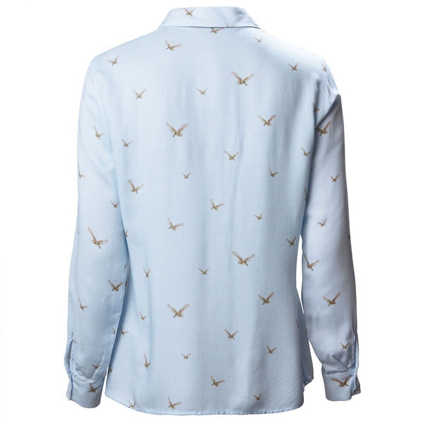 Women's Country Pattern Shirt in Blue with Owls - croftonandhall