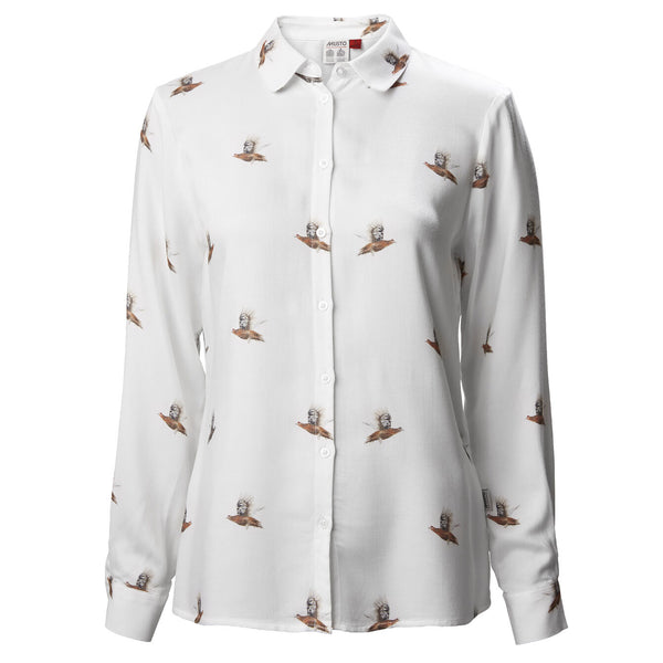 Women's Country Pattern Shirt in White with Flying Pheasants - croftonandhall