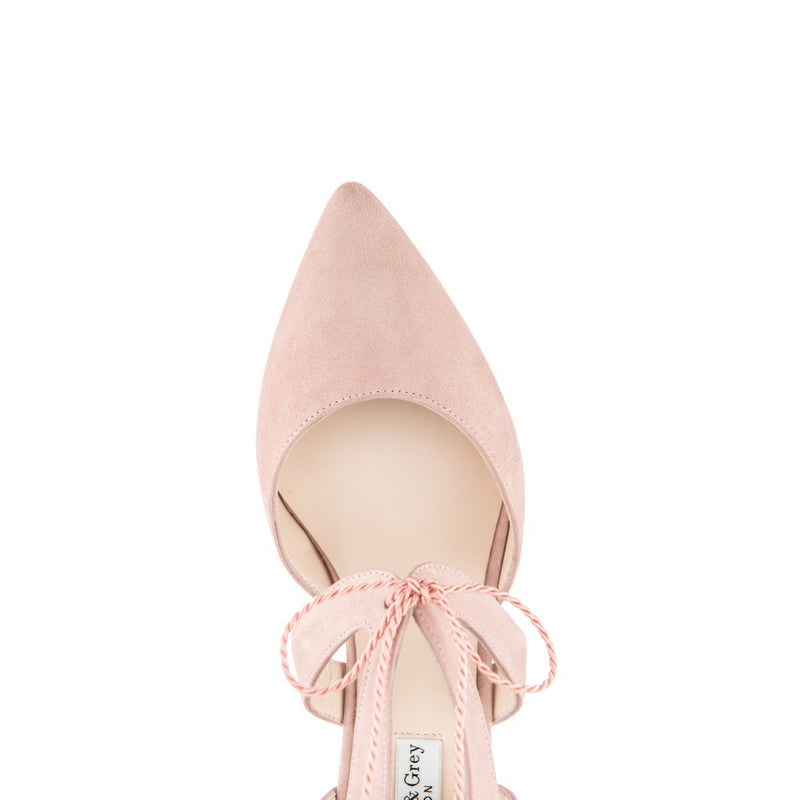 Ava Wide Fit Kitten Heel Shoes - Pink Suede - croftonandhall