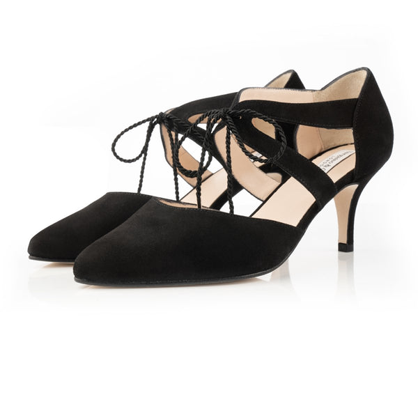 Ava Wide Fit Kitten Heel Shoes - Black Suede - Crofton & Hall