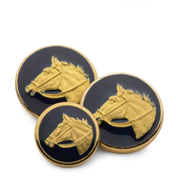 Horse Head (Blue Enamel) Blazer Button - croftonandhall