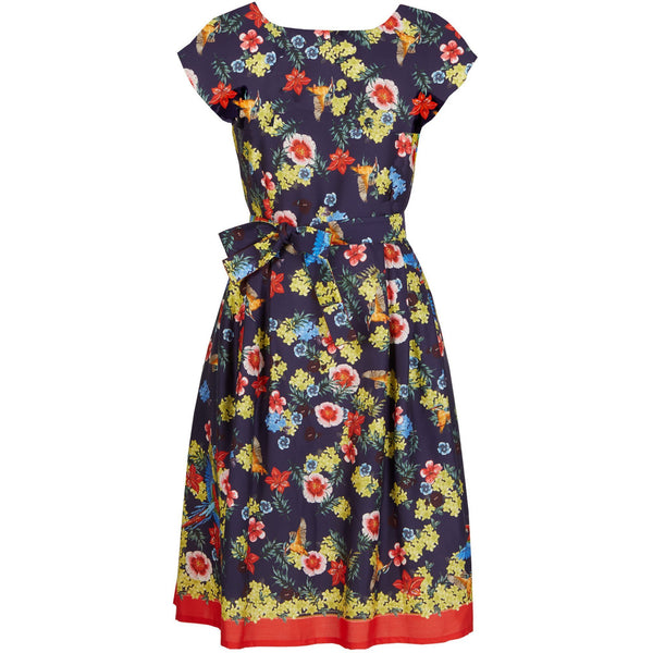 BEATRICE CAP - TENCEL NAVY TROPICAL BIRDS DRESS - croftonandhall