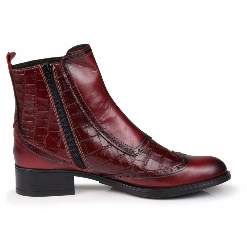 Buckled All Leather Chelsea Boots in Burgundy - croftonandhall