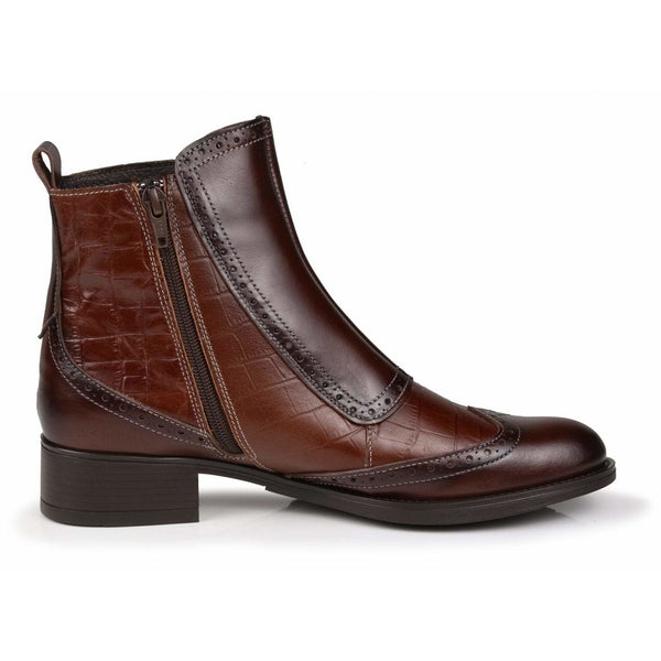 Buckled All Leather Chelsea Boots in Chestnut - croftonandhall