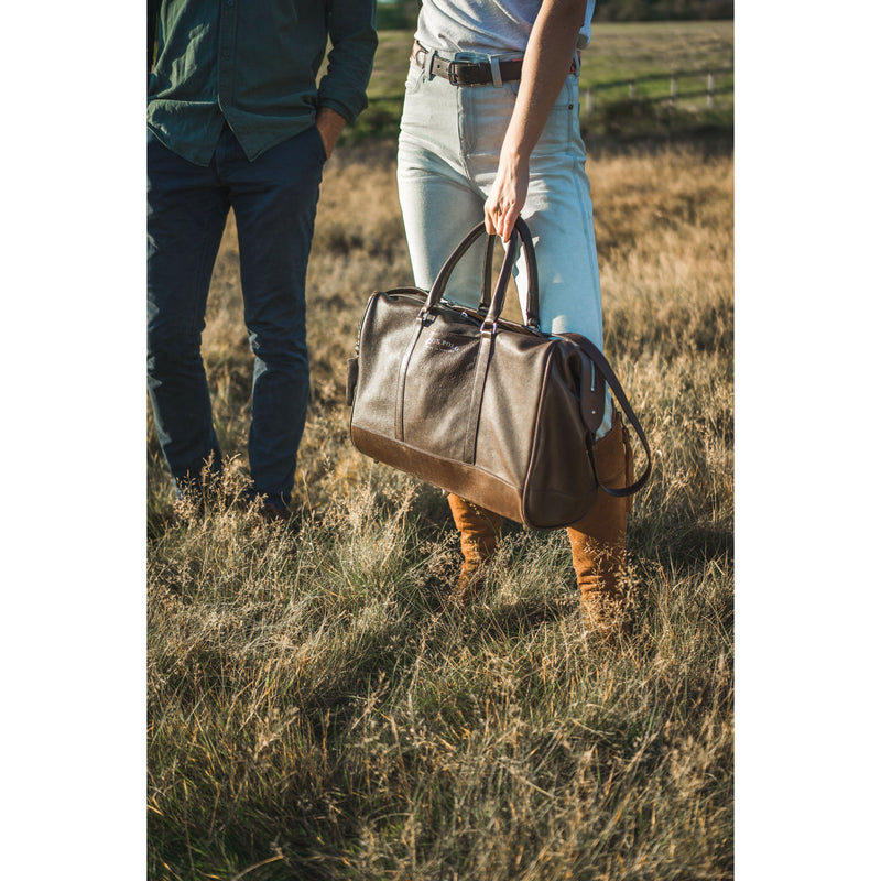 Brown Leather Holdall Bag - Elephant Polo Print - croftonandhall
