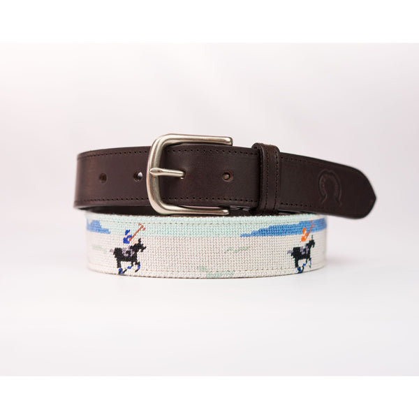 Needlepoint Belt - Snow Polo - Crofton & Hall