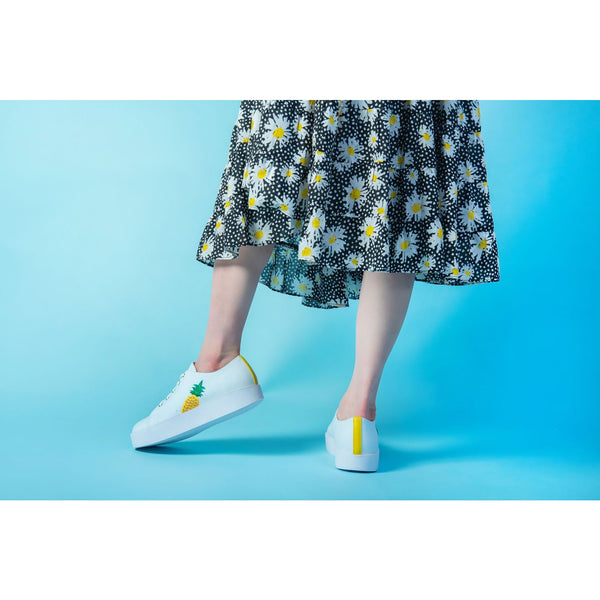 Shoreditch Pineapple White Trainer - croftonandhall
