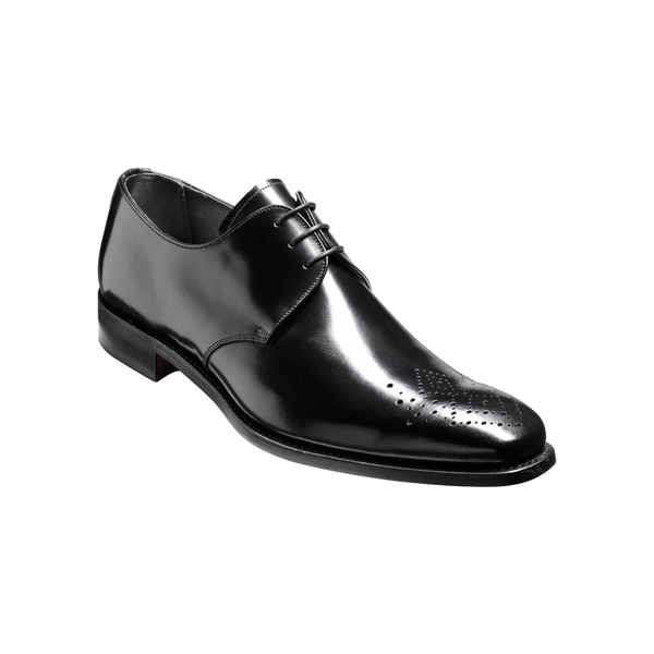 Darlington Derby Shoe in Black Hi-Shine Leather - croftonandhall