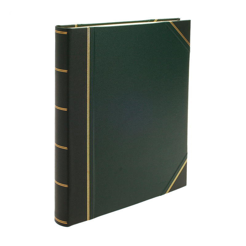 Original Large Leather Portrait Scrapbook in Green - croftonandhall