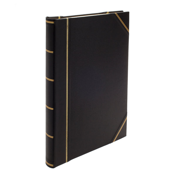 Original Large Leather Portrait Scrapbook in Black - croftonandhall