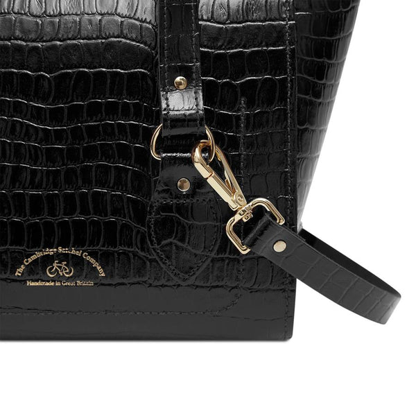 Small Emily Tote in Black Patent Croc - croftonandhall