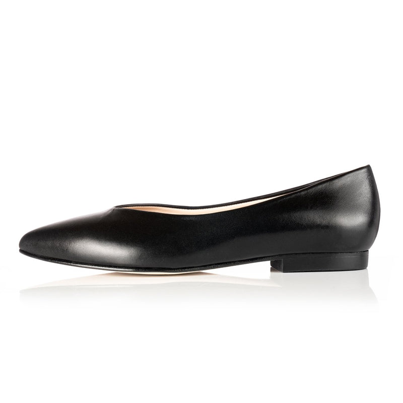 Sorcha Wide Fit Ballet Flats - Black Leather - croftonandhall