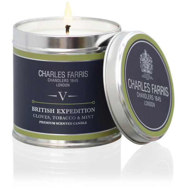 British Expedition Tin Candle | Cloves, Tobacco & Mint Tea - Crofton & Hall