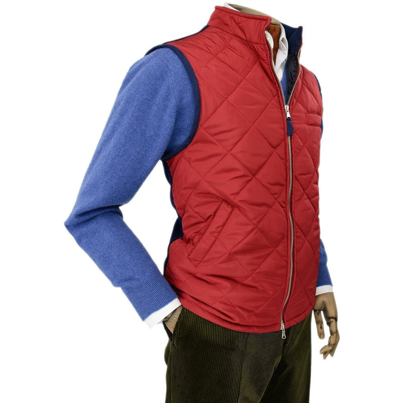 Red Quilted Gilet with Knitted Back - croftonandhall